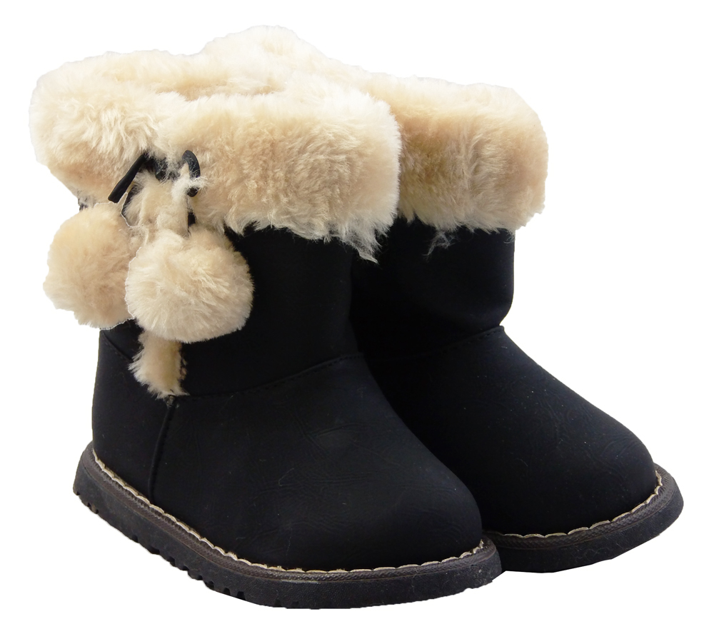 Little Baby Girls Fluffy Soft Fur Lined Warm Winter Ankle Boots ...
